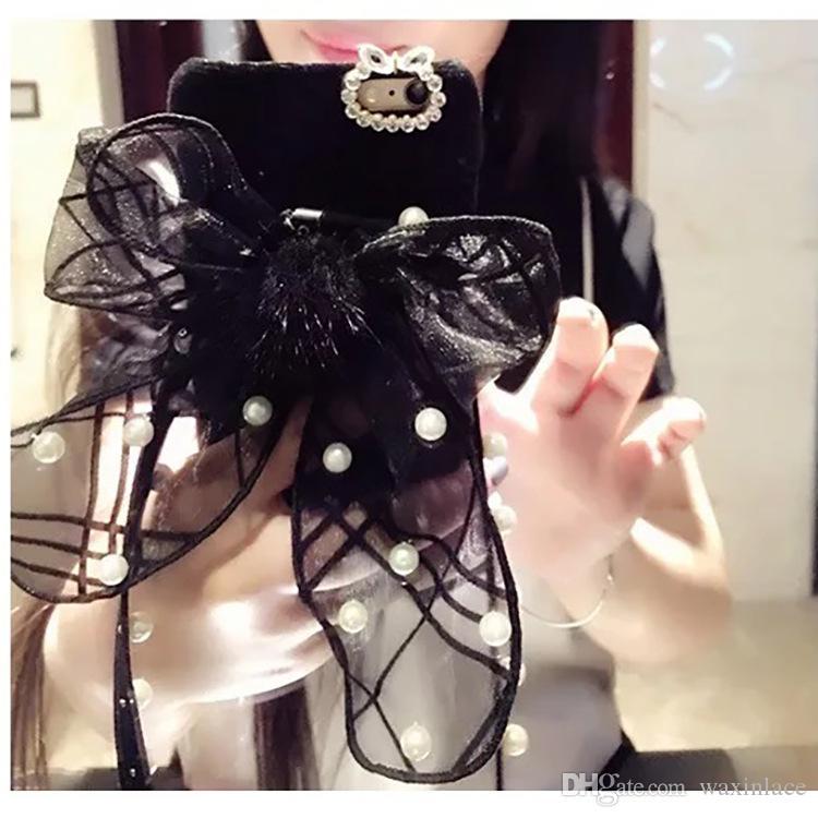 Luxury bow-knot rosette Plush Lace hard PC plastic phone case cover For iphone 7 6 6s / plus 4.7 5.5 coque fundas