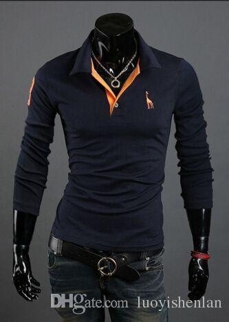 جديد قمصان البولو طويلة الأكمام الشهيرة طباعة شعار القطن رفض طوق يتأهل تنفس Camisa 6 ألوان الحجم M ، L ، XL ، XXL