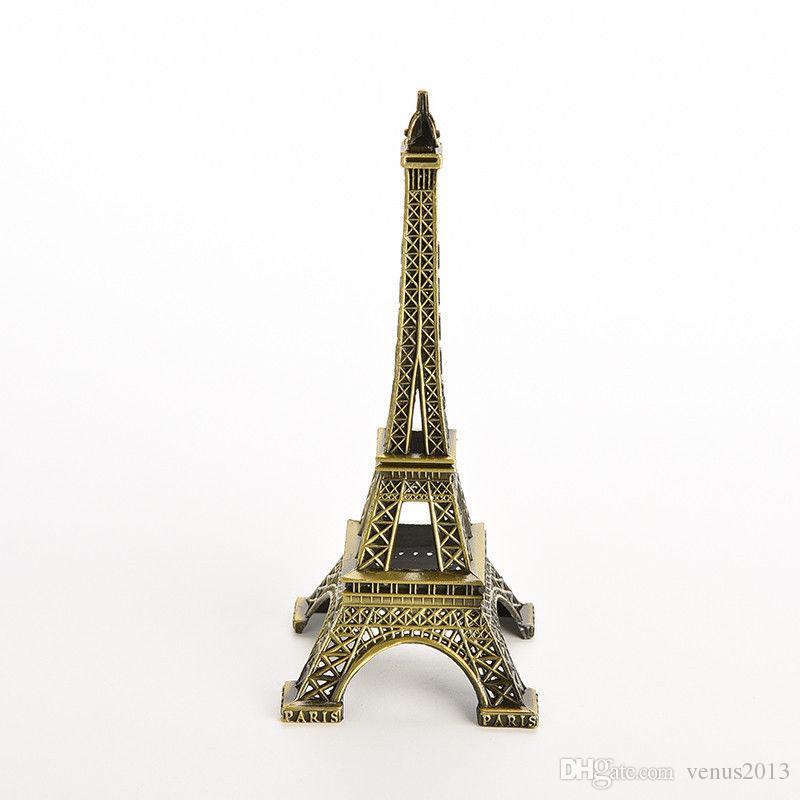 15 cm Bronze Paris Tour Eiffel Métal Artisanat Figurine Statue Modèle Maison Décors Souvenir