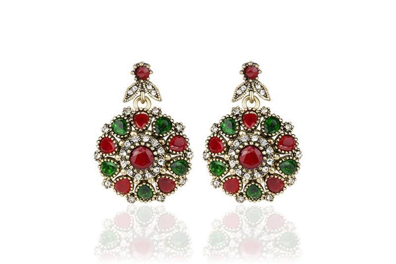 3 pezzi vestito turco gioielli Colorfull pietra orecchini e collana per le donne Nigerian Wedding Afran Beads Jewelry Set Crystal