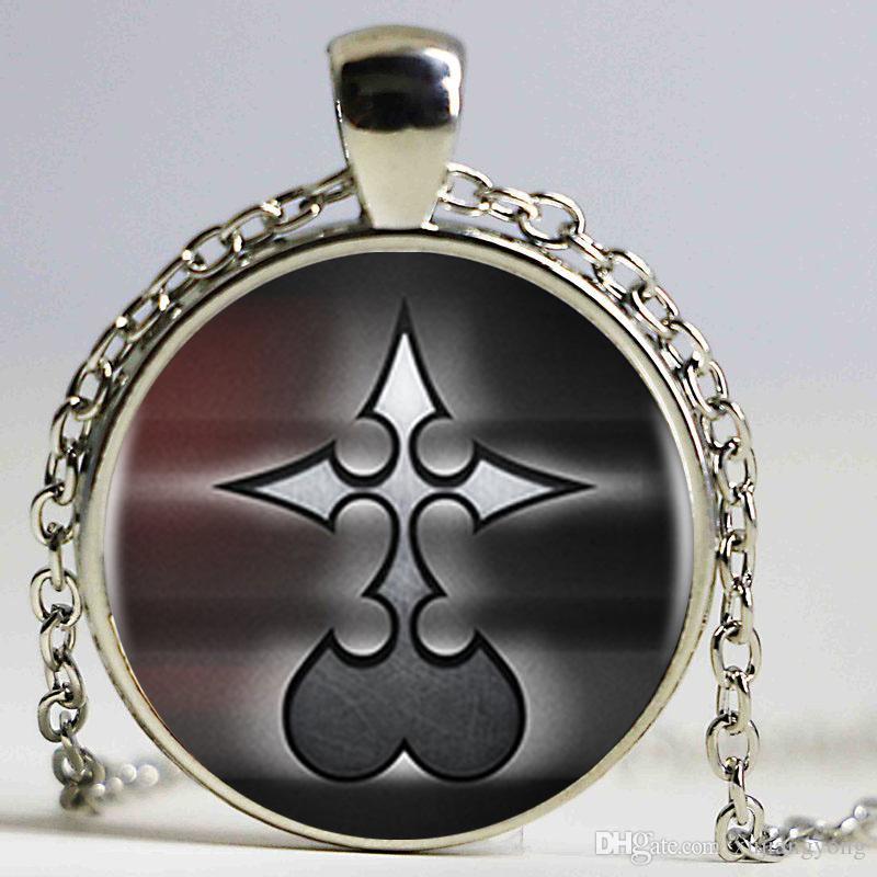 Королевство сердца никто логотип искусство подвески ожерелье кабошон черный цепи заявление Ожерелье для женщин