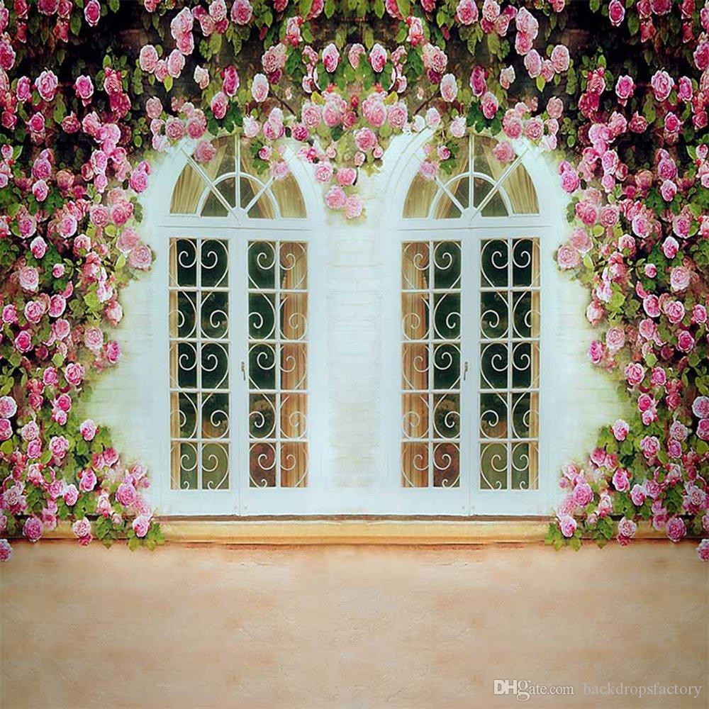 Bianco Windows Fiori Rosa Muro Matrimonio Sfondo Photobooth Fondale romantico Fotografia Studio esterno Sfondi fotografici 10x10ft