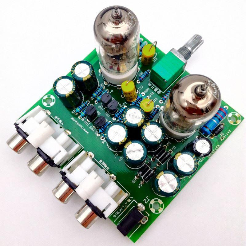 Freeshipping 6J1 Tube Pre Amp Amplifier Board Valve Buffer PreAmp Amplifiers DIY Kits Tube Preamplifier Board Gall Buffers Amplifier DIY KIT