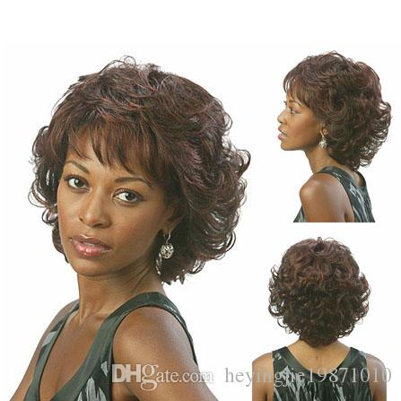 Xiu Zhi Mei Hot sell Cheap New Fashion Women Brown Color Chic Short Wavy Hairstyle Synthetic Hair Wigs For Black Women