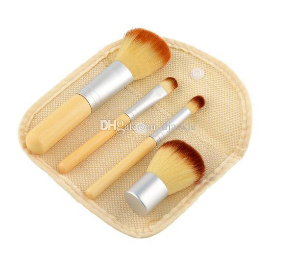 DHL 4 pcs / set brosse de maquillage en bambou poignée outils de beauté avec poignée de sac en lin fabricants