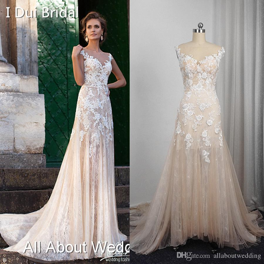 2bab422e9b Discount A Line Champagne Light Wedding Dresses Real Photo Sleeveless Lace  Appliqued Illusion Neckline Illusion Light Weight Bridal Gown Vintage ...
