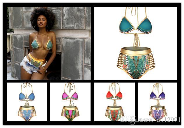 2017 Sexy Sul Africano Halter Halter biquíni de cintura alta maiô duas peças swimwear mulheres maiô banhista maillot de bain frete grátis