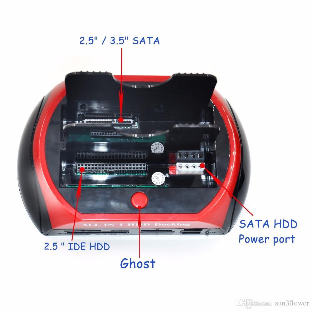 3.5 2.5 SATA IDE 2 محطة قاعدة مزدوجة HDD لرسو السفن e-SATA Hub أجزاء حاوية التخزين الخارجية