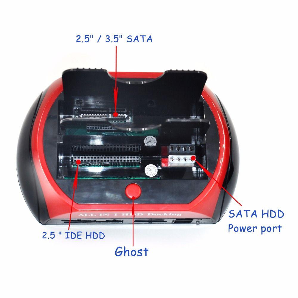 """3.5 """"2.5""""SATA IDE 2 개의 더블 도킹 HDD 도킹 스테이션 e-SATA 허브 외장형 스토리지 인클로저 부품 EU 미국 플러그"""