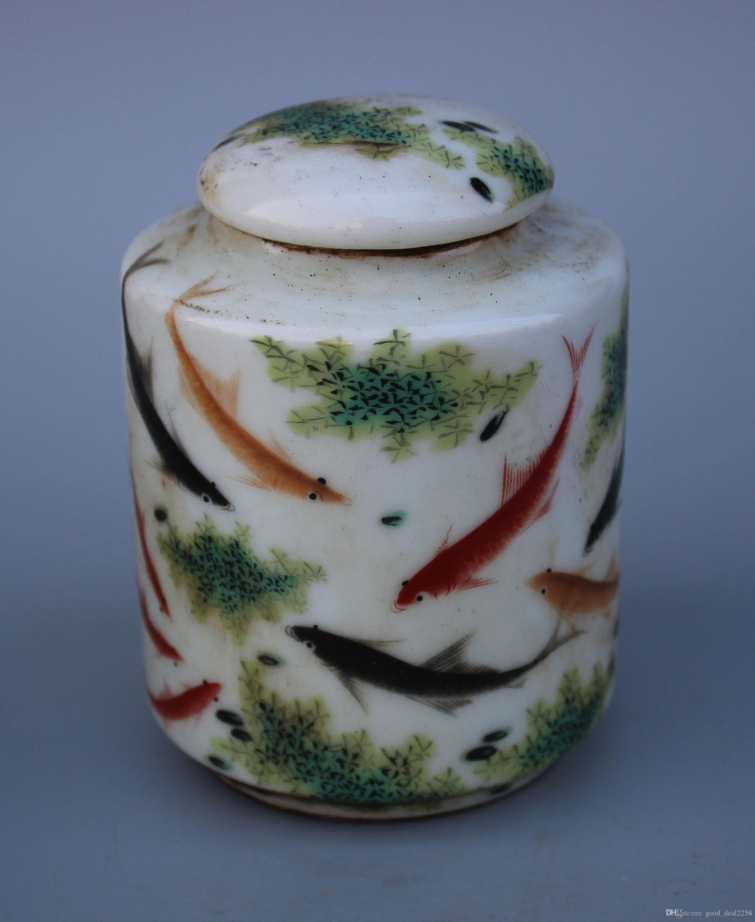 Rare porcellana cinese Lavoro manuale pittura pesce Giocare nell'acqua Vaso vecchio - Carrello