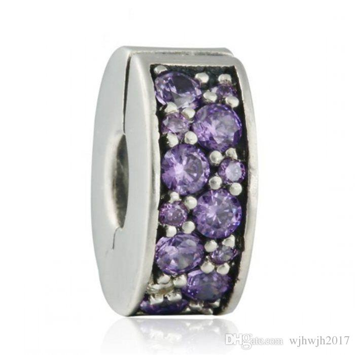 New Shining Elegance Clip Charm Beads 925 Sterling Silver Pave Purple Crystal Stopper Beads Diy Bracelets European Charm Fine Jewelry