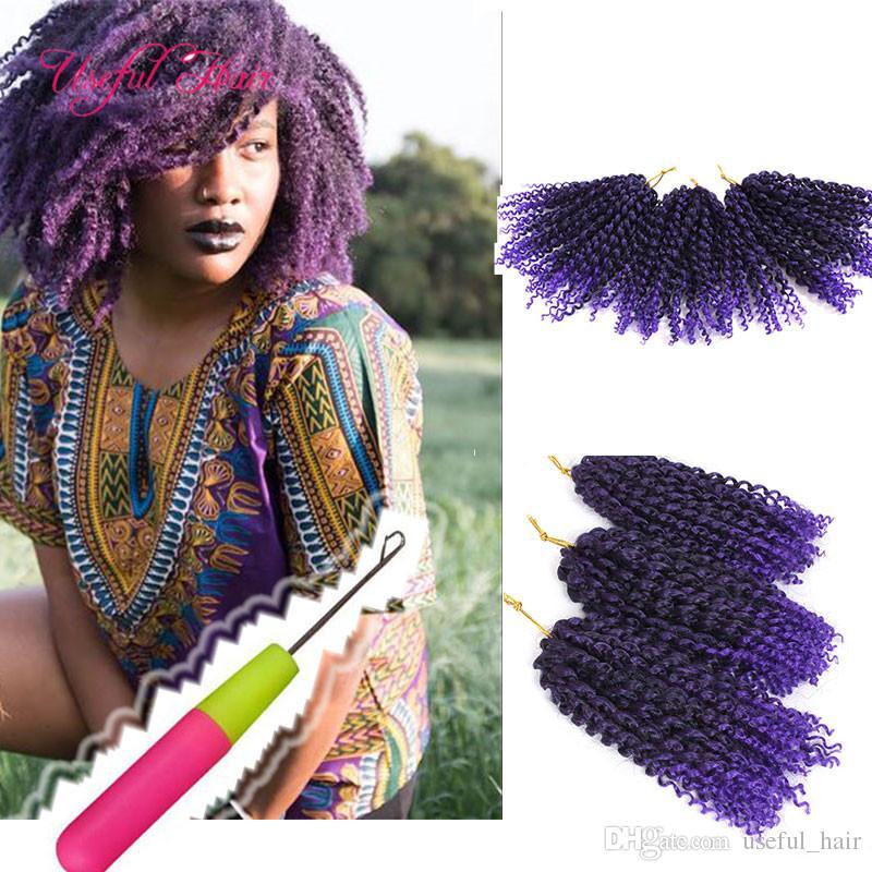 """whoelsale al dettaglio 4 lotto una testa Malibob estensione dei capelli sintetici 8 """"3 Pz / set trecce all'uncinetto Twist per le donne nere Kinky ricci capelli marlybob"""