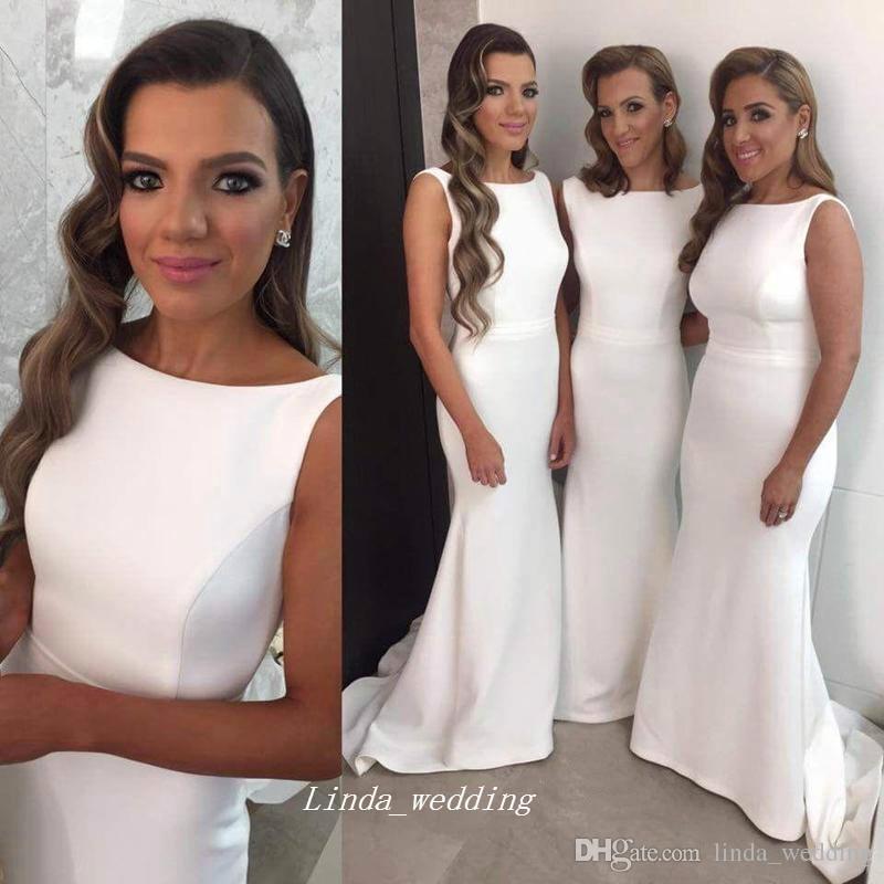 Новое Поступление Белое Формальное Платье Подружки Невесты Элегантное Атласное Длинное Платье Фрейлина Свадебное Платье Платья Плюс Размер vestidos damas de honor