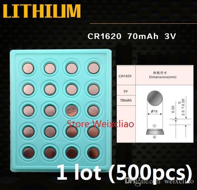 500 stks 1 partij CR1620 3V Lithium Li Ion Button Cell Battery CR 1620 3 Volt Li-ion Coin Batteries Lade Pakket Gratis verzending