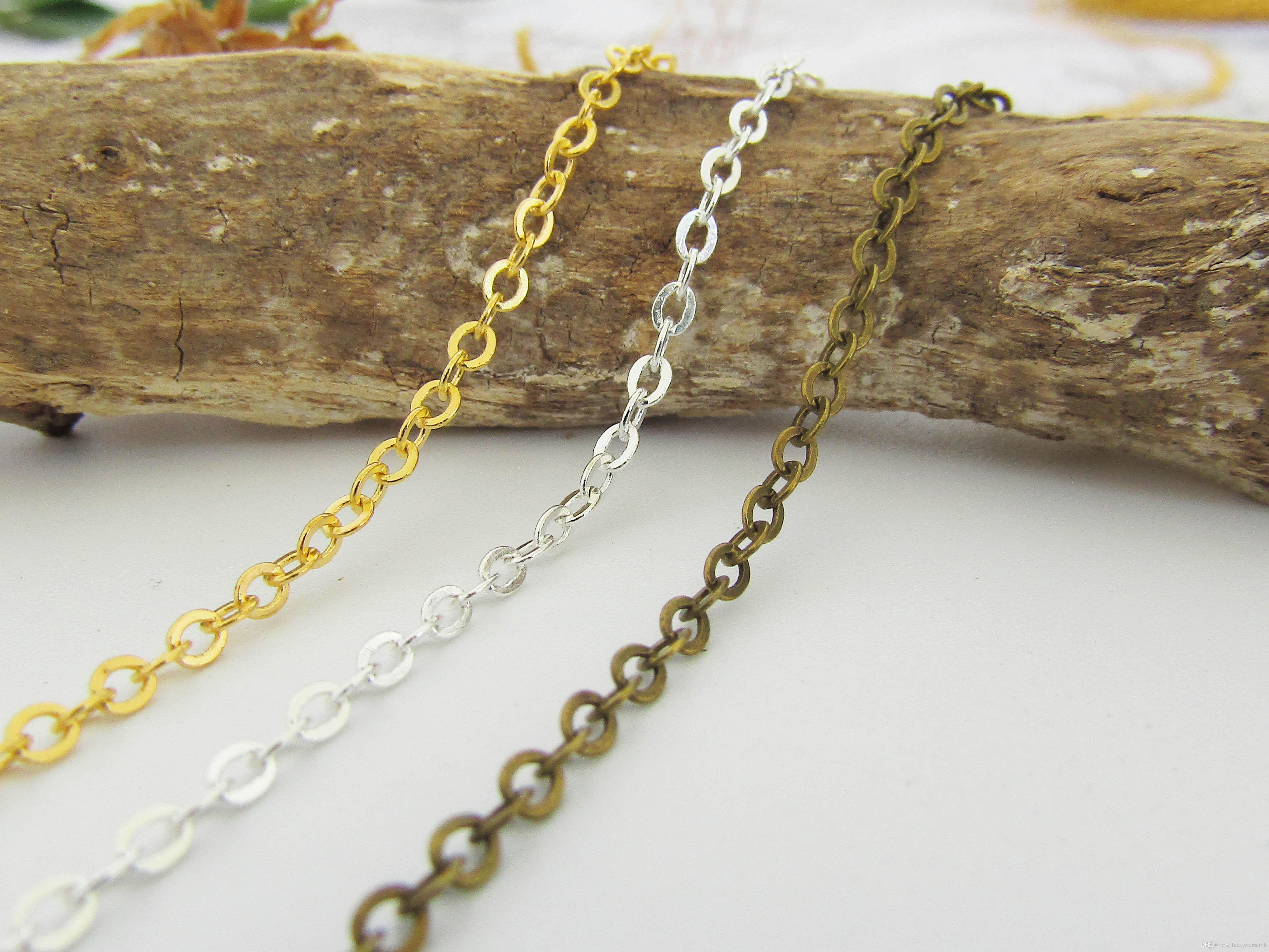 10 Metres Antique Gold Bronze Jewellery Chain 3 x 2mm NICKEL FREE WHOLESALE BULK