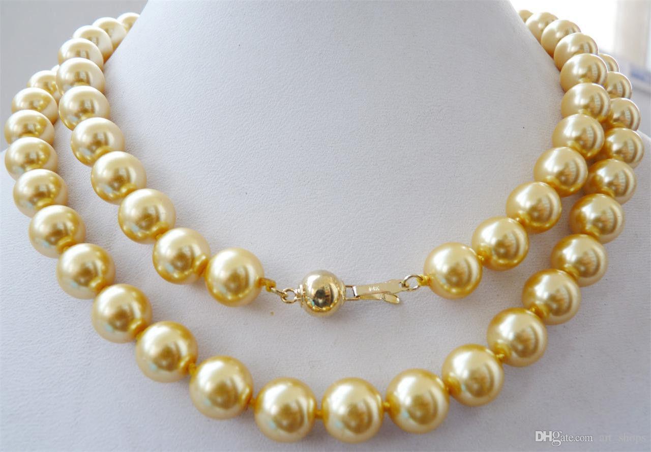 "10mm gelbe Südsee Muschel Perlenkette 34 ""14K Gold Verschluss"