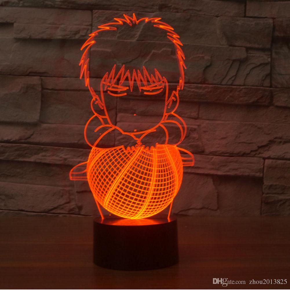 7 Cambio de color de la visión increíble ilusión óptica Liu Chuanfeng efecto 3D teclas táctiles decoración del hogar LED Lámpara de Mesa Luz de Noche