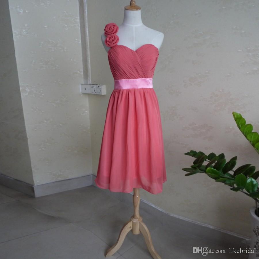 Discount A Line One Shoulder Bridesmaid Dress Chiffon Knee Length 2019 Simple Bridemaids Dresses Flowers Strap Wedding Party Gowns