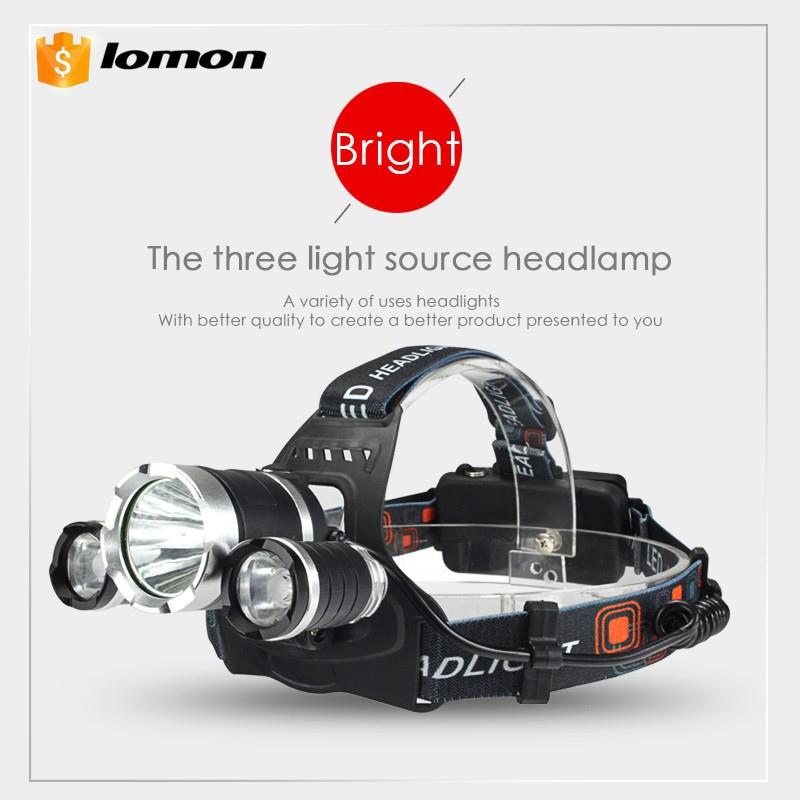 3 LED Headlamp Super Bright Rechargeable LED Headlight White Red Light Three Lights Source CREE XML T6 Headlight 2 X 18650 Battery +Charger