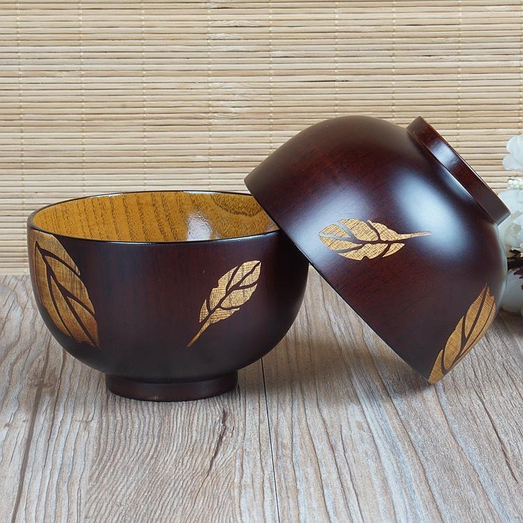 Tigela de madeira das crianças de madeira sólida utensílios de mesa para casa linda tigela de arroz de madeira pintados à mão folhas de cereja cereja tigela de madeira