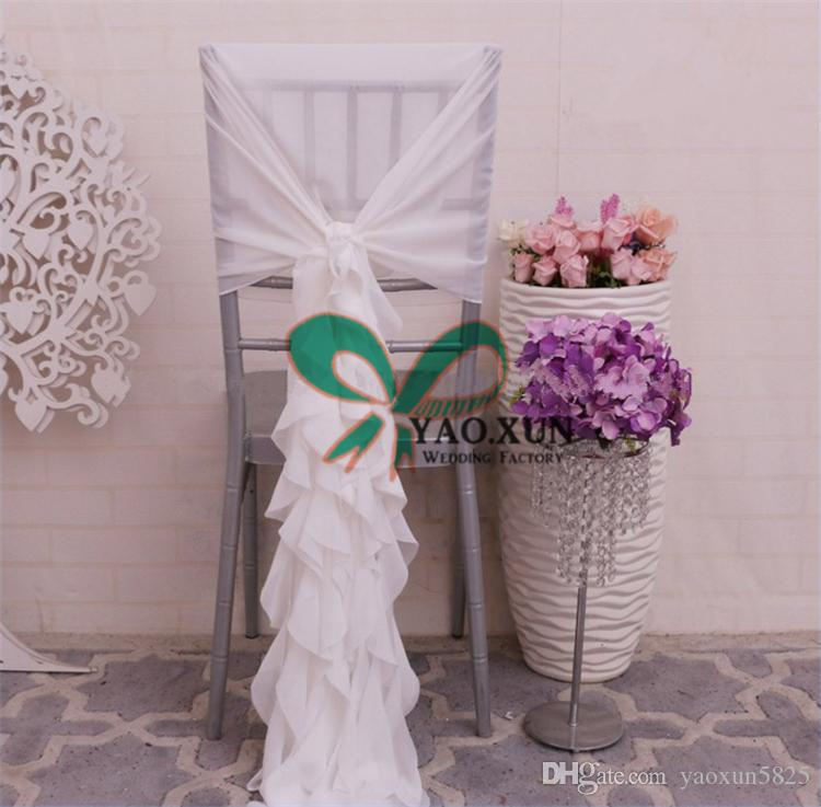 New Design White Color Chiffon Chiavari Chair Cover \ Chair Cap Jacket For Wedding Decoration