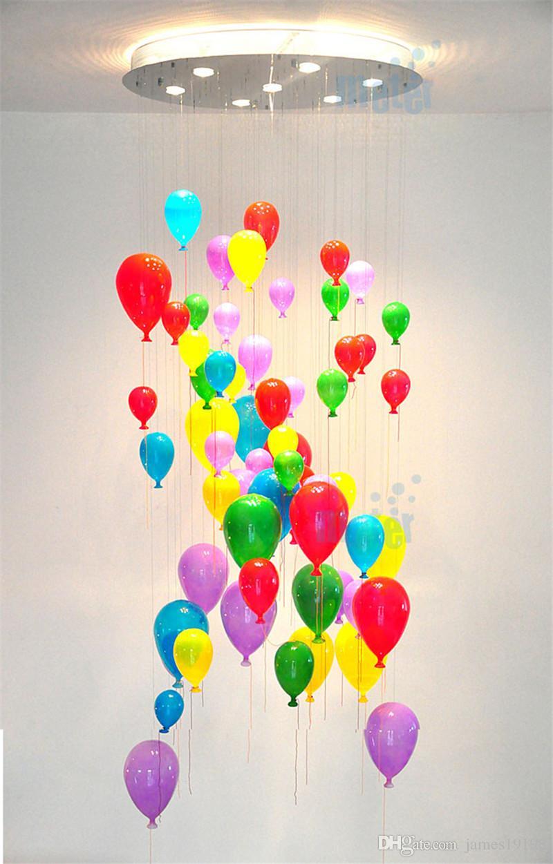 lampada a sospensione moderna personalizzato multicolore Vetro Balloon Per la camera dei bambini palloncino colorato per il capretto rrom CA011 Free shipping