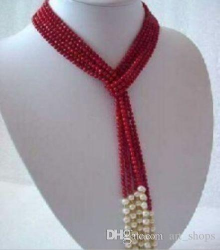 FFREE SHIPPING ** 5 MM Charme Red Coral Branco Pérola Cachecol Colar 50 ""