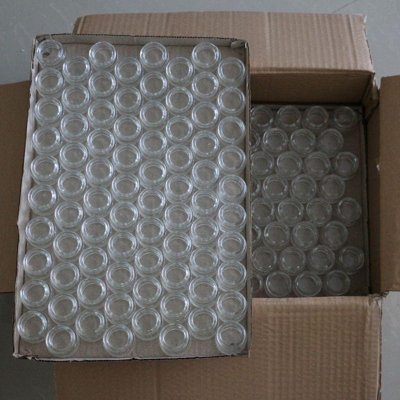 5 ml küçük buharlaştırıcı cam kavanoz şeffaf dab balmumu cam kavanoz özel temperli pyrex cam gıda isıtıcı konteyner ile plastik kapak