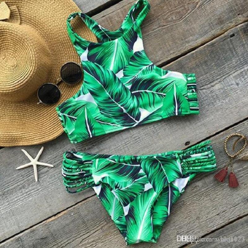 Hot col montant Bikinis Maillots de bain Femme Imprimé Vert Feuille Bandage Maillot de bain Bikini Set maillot de bain brésilien Biquinis Livraison gratuite