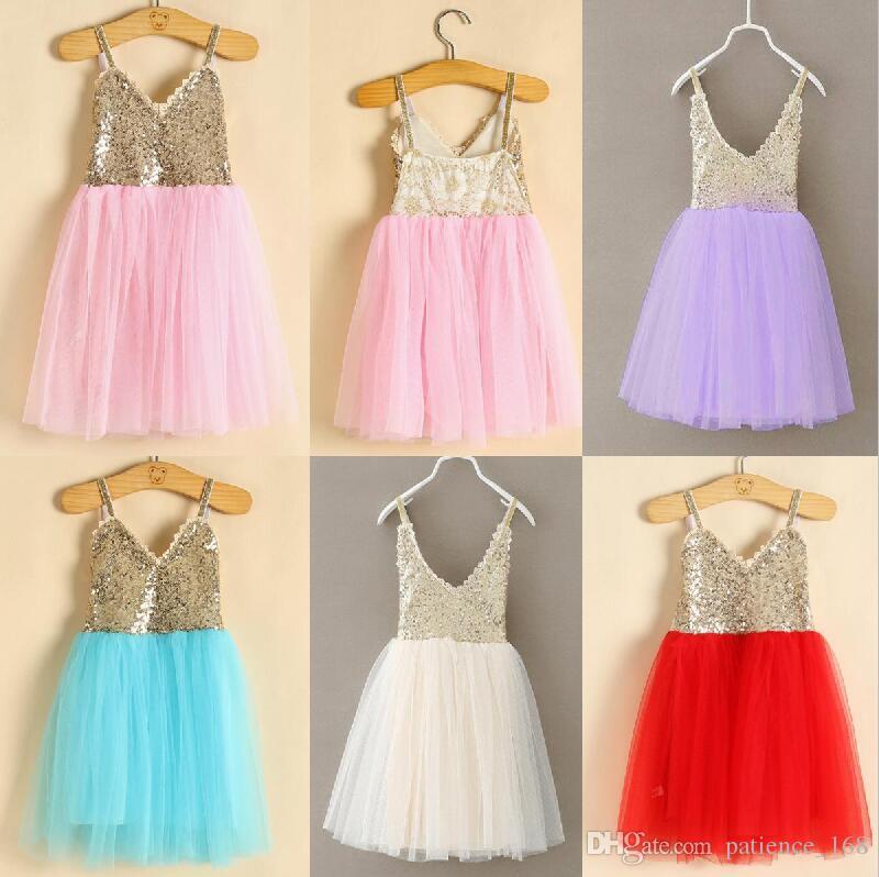 Em estoque 5 cores 2017 hot selling New Arrivals estilos Coreano menina Lace saia Casual menina elegante sling Moda lantejoulas Vestido de Princesa