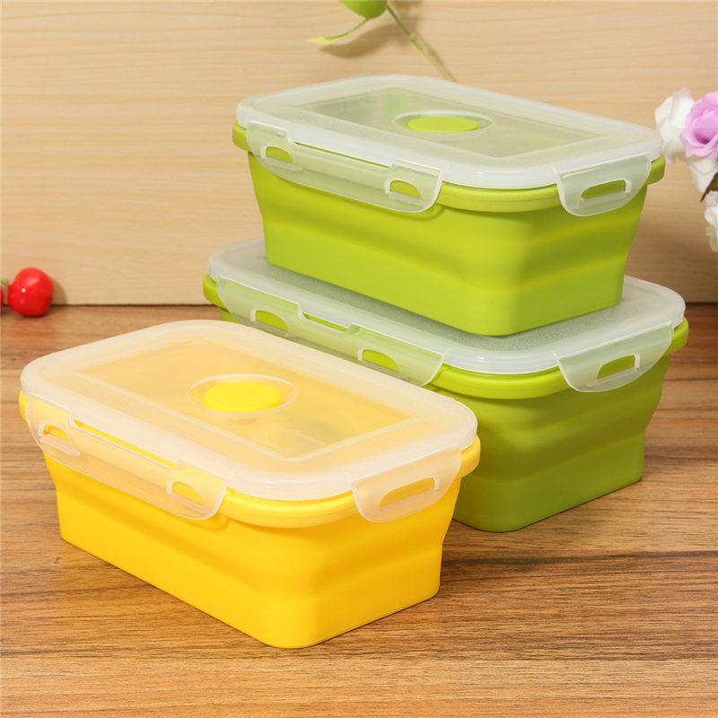 أعلى بيع سيليكون لطي المحمولة الغداء مربع وعاء بينتو صناديق للطي الغذاء تخزين الحاويات الغداء مربع صديقة للبيئة