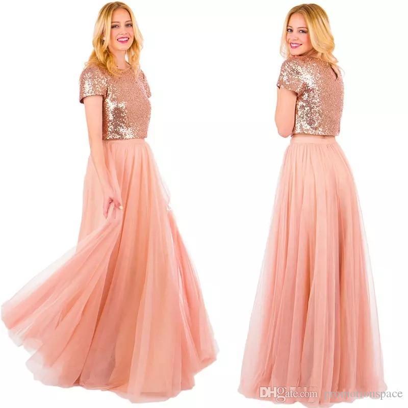 Twee stuk blozen lange tule land bruidsmeisje jurken 2017 rose gouden pailletten rok korte mouw juweel nek bruiloft formele jurken voor feest