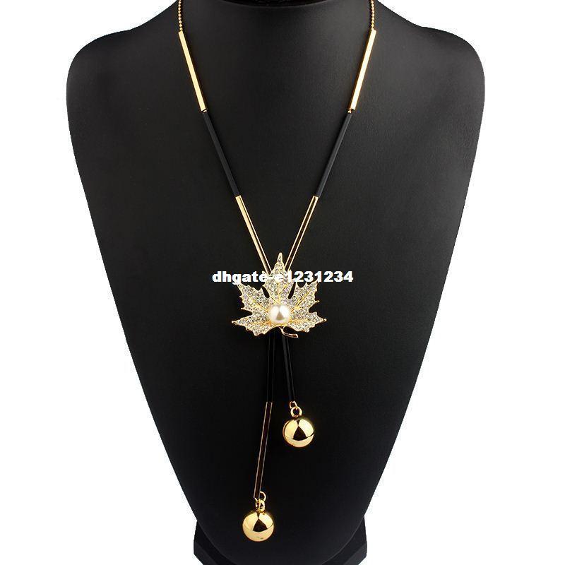 Vivilady جميل مابل ليف طويل مطرز سلسلة شرابة قلادة قلادة المرأة مكتب سيدة تقليد بيرل مجوهرات بيجو هدايا
