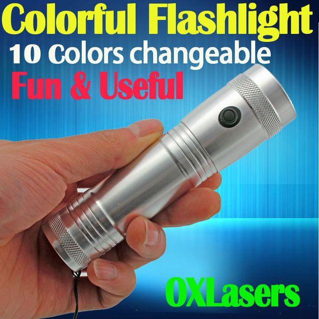 Portable arc-en-RGB LED lampe de poche Colorshine Changer de couleur 3W en alliage d'aluminium Edison multi-couleurs arc-en-10 la couleur d'éclairage de la flamme