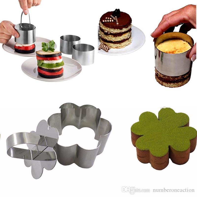 1 PC Bakeware Aço Inoxidável Mousse Bolo Anel Mold Baking Quadrado Rodada Forma de Coração Bolo Cookies Ferramentas Com Push Presser