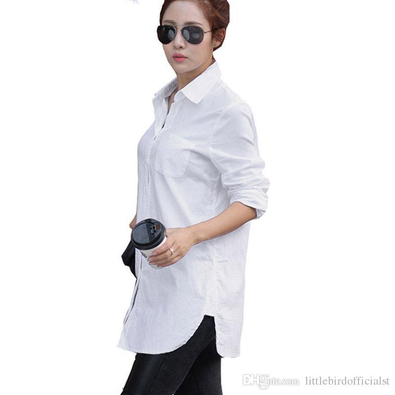 Mulheres Camisas Casuais Tops Sólidos Camisa de Algodão Branco Das Senhoras 2017 Primavera Verão Puff Manga Turn-Down Collar Blusa para Meninas