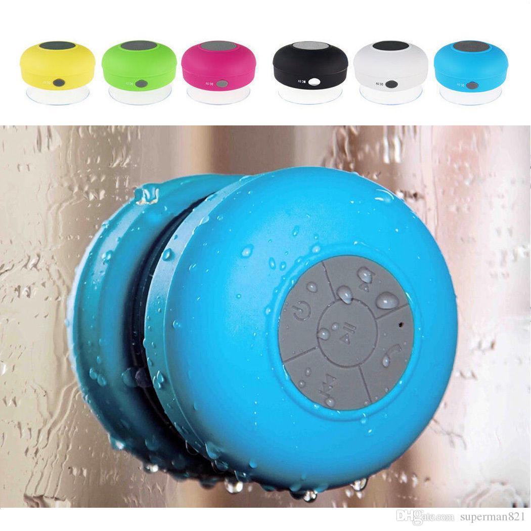 новые моды Портативный сабвуфер душ водонепроницаемый беспроводной Bluetooth спикер автомобиля громкой связи Прием вызова музыки Всасывающий микрофон для iPhone Samsung