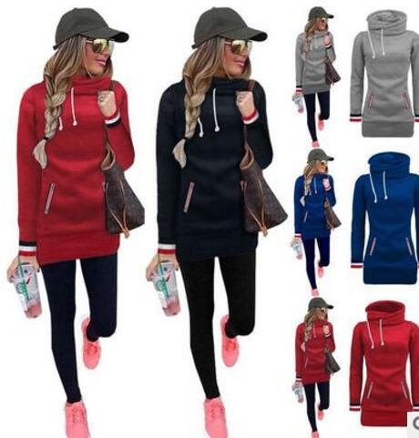 2017 new Women Casual Sweatshirt Coat Cotton Casual Long Hoodies Sweatshirt Dress Pockets Outerwear Plus velvet Hooded sweater Tops
