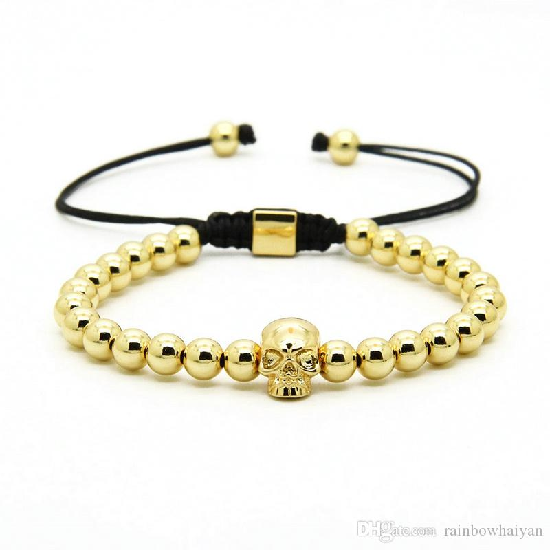 Fashion Mens Skull Jewelry Wholesale 10pcs/lot 6mm Mix Colors Copper Beads With Heart Skeleton Braided Bracelets