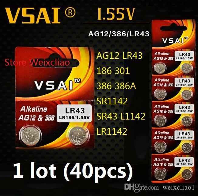 40 قطع 1 وحدة AG12 LR43 186 301 386 386A SR1142 SR43 L1142 LR1142 1.55 فولت القلوية زر خلية البطارية عملة بطاريات vsai مجانية