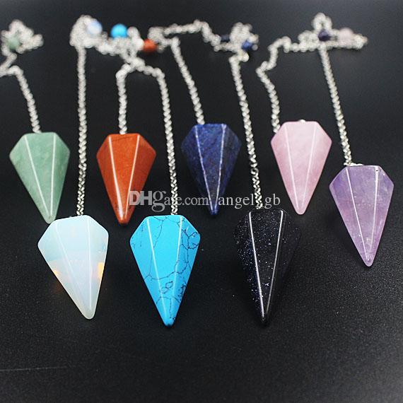9 pietra di guarigione per scegliere, quarzo rosa, avventurina, pendente a pendolo punto ametista pendente a punto di cristallo di guarigione con cauzione placcata argento