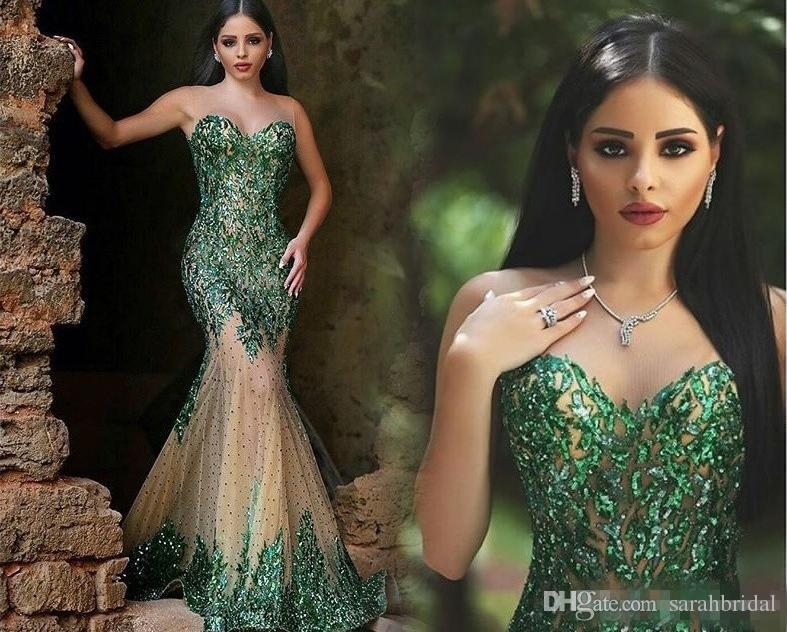 Hot Sale Green Women Plus Size Evening Dresses Illusion Neck Sequined  Beading Mermaid Sleeveless 2019 Cheap Plus Size Formal Wear Prom Dress  Womens ...