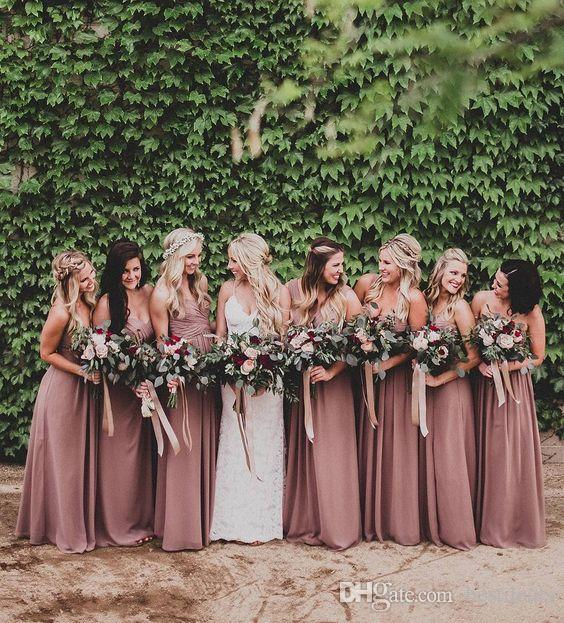 Dusty Rose Pink Bridesmaid Dresses Sweetheart Ruched Chiffon A-line Long Maid of Honor Dresses Wedding Party Gown Plus Size Beach