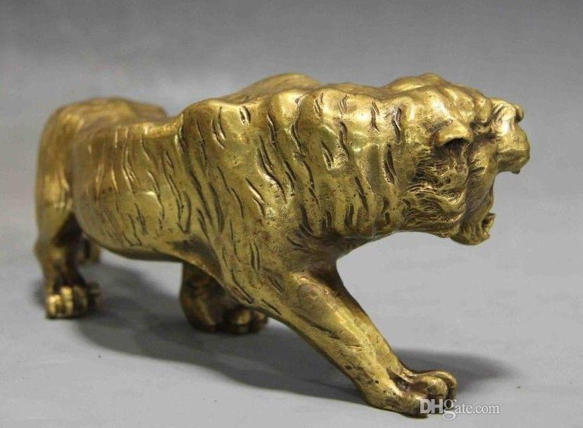 Chinese Fengshui Copper brass Animal Zodiac Year Lucky Tiger Statue FGYU8