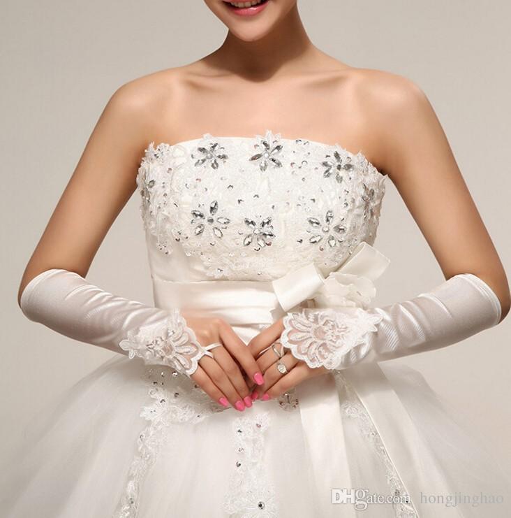Korean wedding bridal glove Fingerless Satin Lace short hand ...