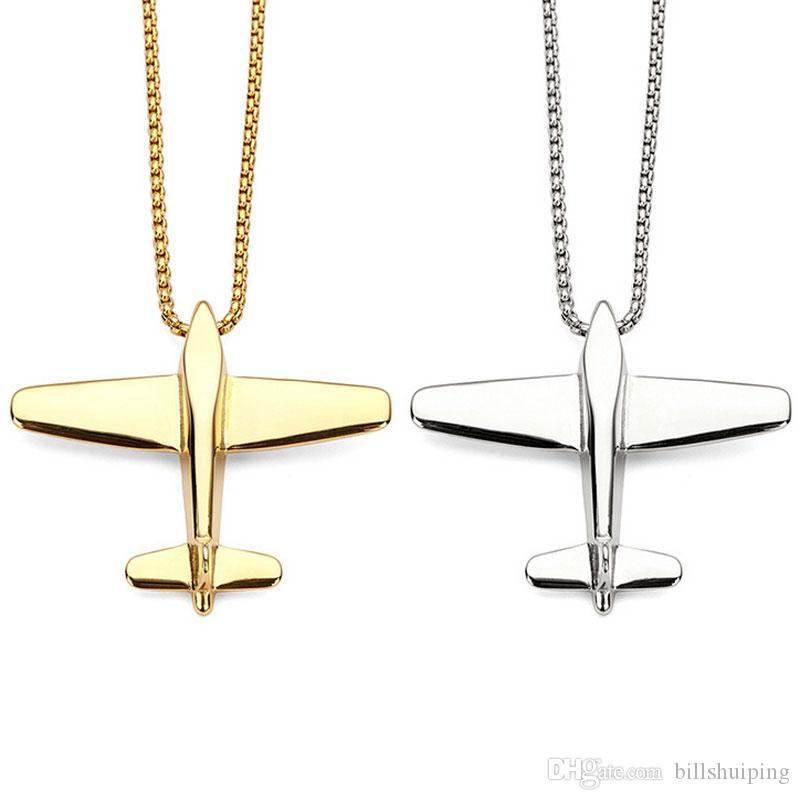 Hot New Plane Aircraft women men Pendant Necklaces Hip Hop Fashion Airplane Chain Jewelry free shipping