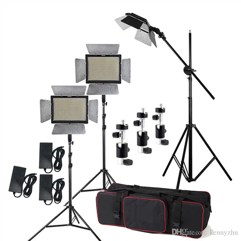 Studio-Beleuchtungs-Kit 3 Stück Yongnuo YN600L II 3200-5500K Bicolor 600 LED-Videolicht-Panel + Netzteil + 2m Ständer + Boom Arm + Tragetasche