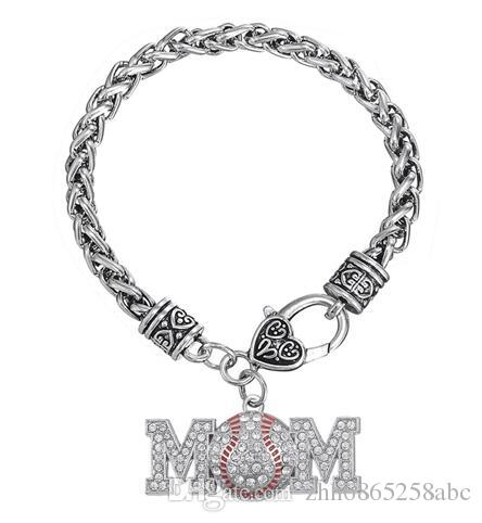 Word Mom With Red Arc Round Crystal Zinc Alloy Antique Silver Plated Bracelets For Anniversary Or Gifts 10Pcs/lot