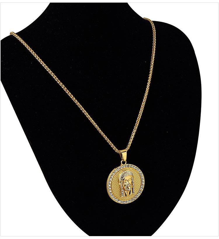 06 hip hop jesus round shape pendant necklace