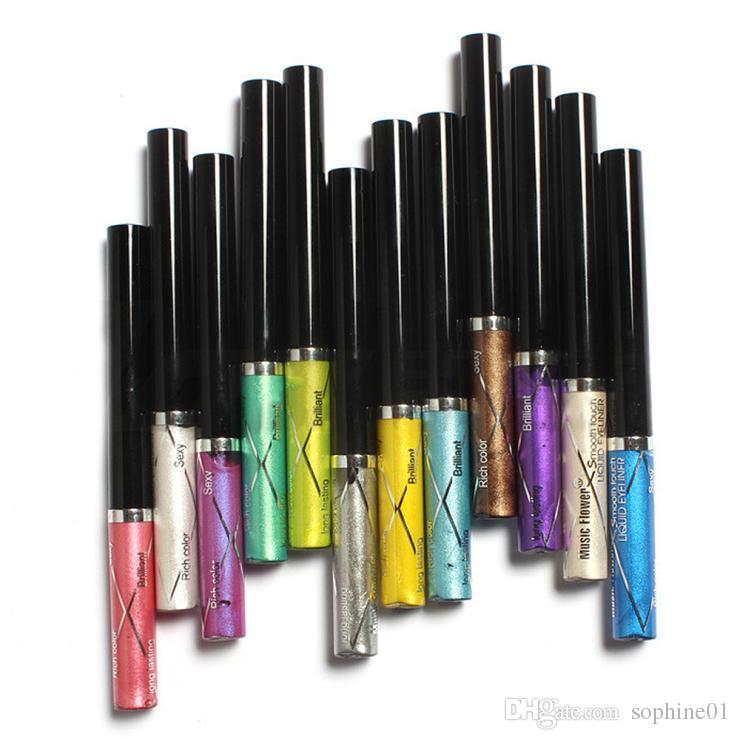12pcs / colors 음악 꽃 전문 쉬머 액체 아이 라이너 연필 펜 방수 브릴리언트 반짝이 아이 라이너 그림자 메이크업